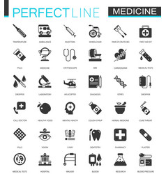 black classic medical and healthcare web icons set vector image