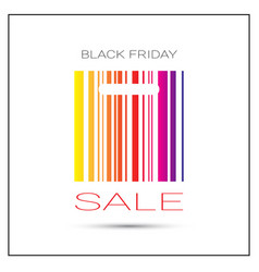 black friday sale poster with colorful bar code on vector image vector image