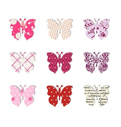 Butterfly set Pink red and warm tones vector image