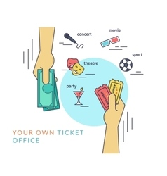Buying tickets flat line contour of vector image vector image
