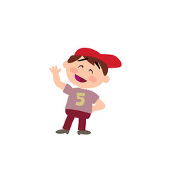 Cartoon character white boy with red cap greeting vector