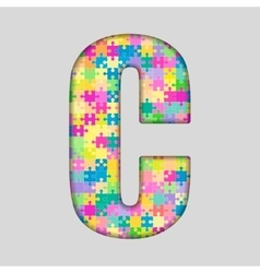 Color piece puzzle jigsaw letter - c vector