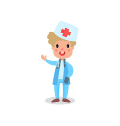 cute boy doctor in professional clothing vector image vector image
