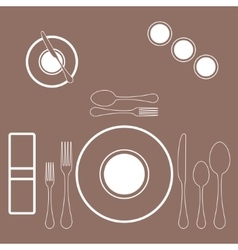 Decorated table with plate knife and fork vector