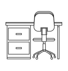 Desk chair workplace image outline vector