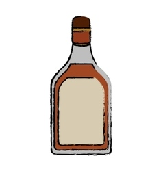 Drawing tequila bottle alcoholic beverage vector