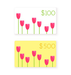 flat style gift card template vector image vector image