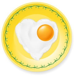 fried egg on plate vector image vector image