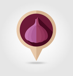 garlic flat pin map icon vegetable vector image vector image
