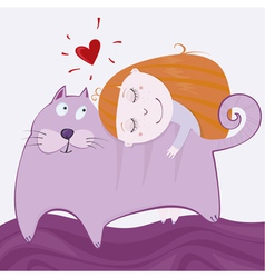 girlie with kitten vector image