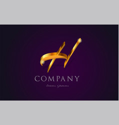 h gold golden alphabet letter logo icon design vector image
