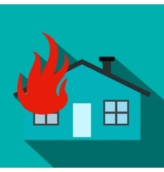 House on fire flat icon vector