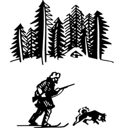 Hunter with dog in the forest vector image