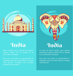 India set of posters dedicated to independence day vector