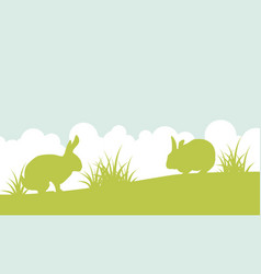 landscape of easter bunny on hill vector image vector image