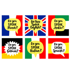 Language school banners set vector