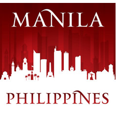 manila philippines city skyline silhouette red vector image vector image