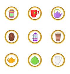 Morning coffee icon set cartoon style vector