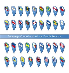 Pin flags of the Sovereign Countries North and vector image