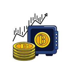 Safe with bitcoin currency and arrow up vector