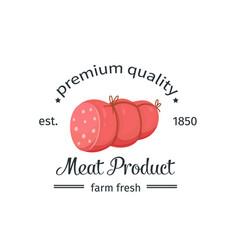 sausage vintage emblem vector image vector image