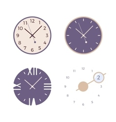 Set of four retro wall clocks vector image vector image