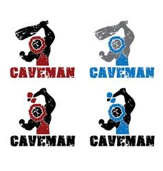 Set of grunge caveman vector