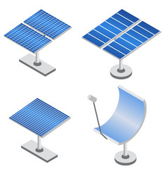 Set of solar panels in isometric projection vector