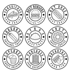 Set of vintage labels of food vector