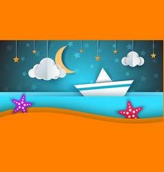 ship paper landscape sea cloud star cartoon vector image vector image