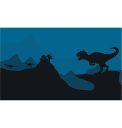Silhouette of big allosaurus vector