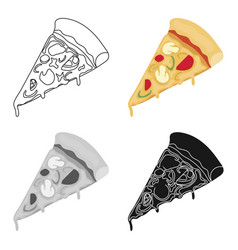 Slice of pizza icon in cartoon style isolated on vector