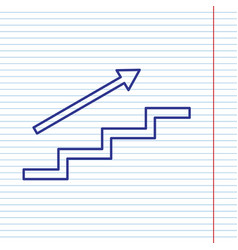 stair with arrow navy line icon on vector image vector image