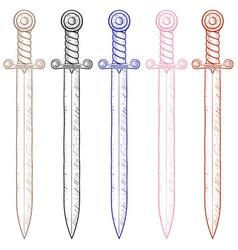sword sketch vector image vector image
