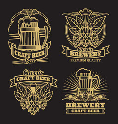 Vintage craft classic beer labels on black vector