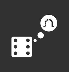 White icon on black background dice and horseshoe vector