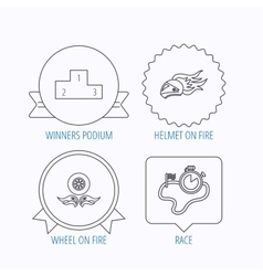 Winner podium race timer and wheel on fire vector image vector image