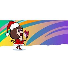 woman santa greeting card cartoon vector image
