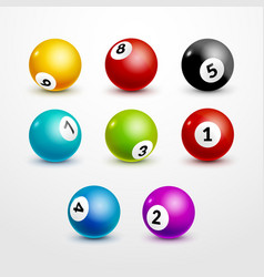 Bingo lottery balls set numbers background lottery vector