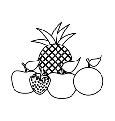 Silhouette still life fruits icon food vector