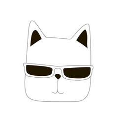 cartoon cat line art vector image