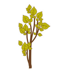 Green small leafy tree forest icon vector