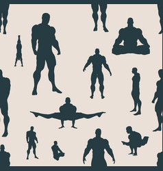 Body building silhouettes seamless background vector