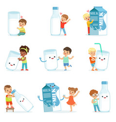 smiling little children playing and dancing with vector image