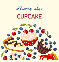 sweet dessert greeting card template vector image