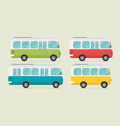 Set of retro bus flat vector