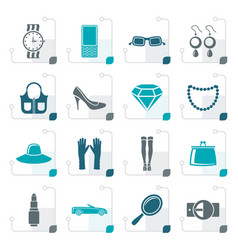stylized woman and female accessories icons vector image