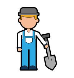 Farmer character with shovel vector