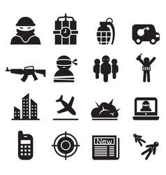Terrorism assassin killer icons set vector