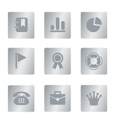 04 silver square office icons vector image